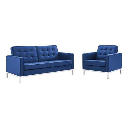 Loft Collection EEI-4102-SLV-NAV-SET Loveseat and Armchair Set with Silver Stainless Steel Legs  Non-Marking Foot Caps  Dense Foam Padded Cushion