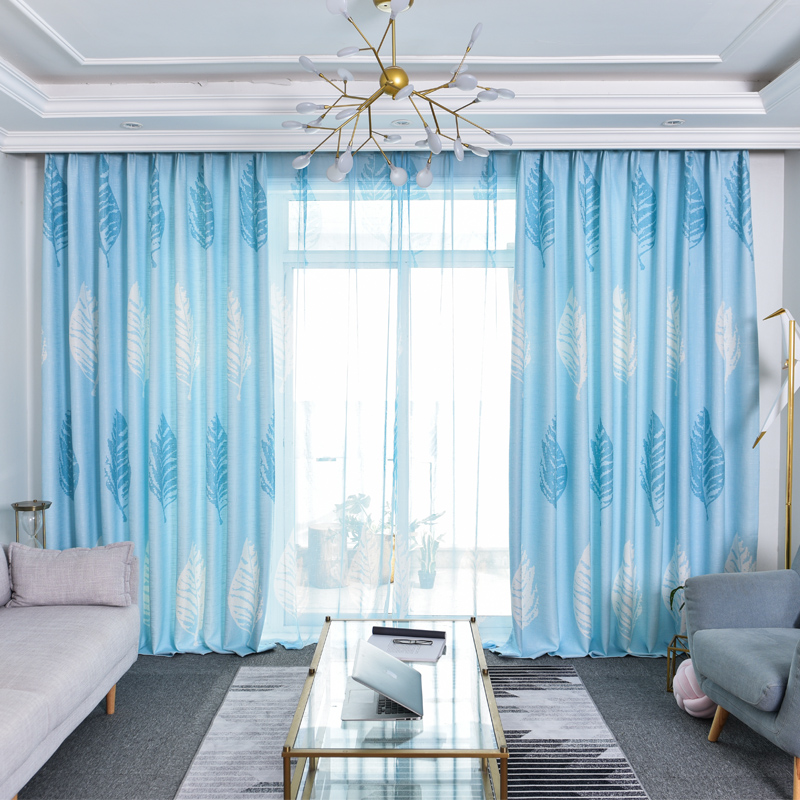 Blackout Cotton and Linen Simple Printed Curtains