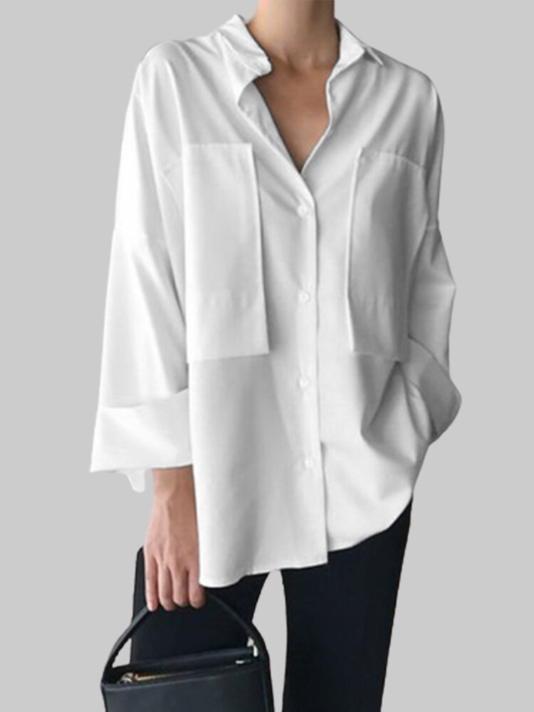 Fashion Patchwork Long Sleeve Lapel Plus Size Shirt With Pockets