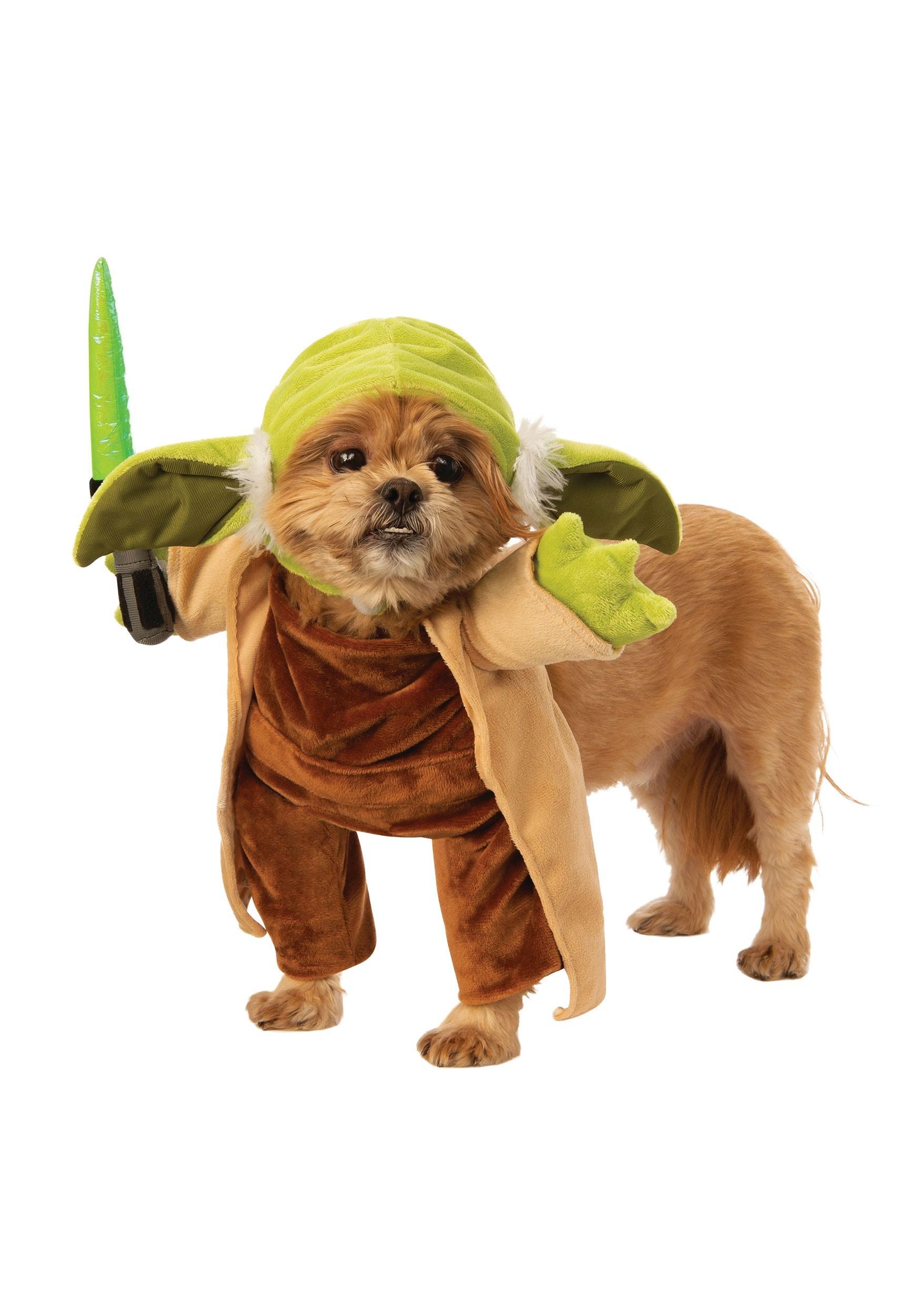 Walking Yoda with Lightsaber Pet Star Wars Costume