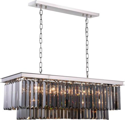 1232D40PN-SS/RC 1232 Sydney Collection Chandelier L:40 In W:14In H:18In Lt:12 Polished Nickel Finish (Royal Cut
