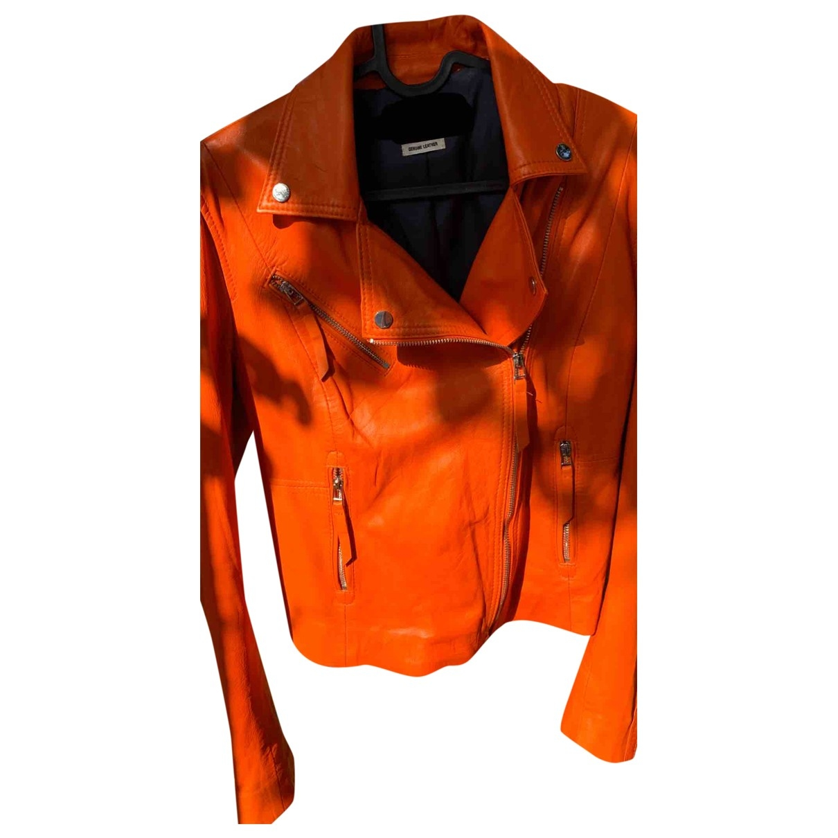 Zara \N Orange Leather jacket for Women 38 FR