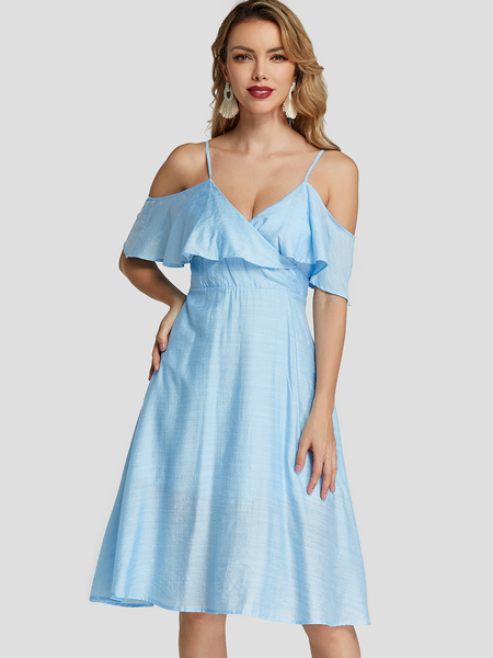 Yoins Elegant Double Layer Crossed Collar Backless Dress In Blue
