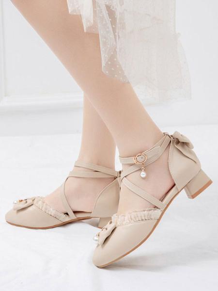 Milanoo Sweet Lolita Footwear BowsRuffles PU Leather Puppy Heel Lolita Shoes