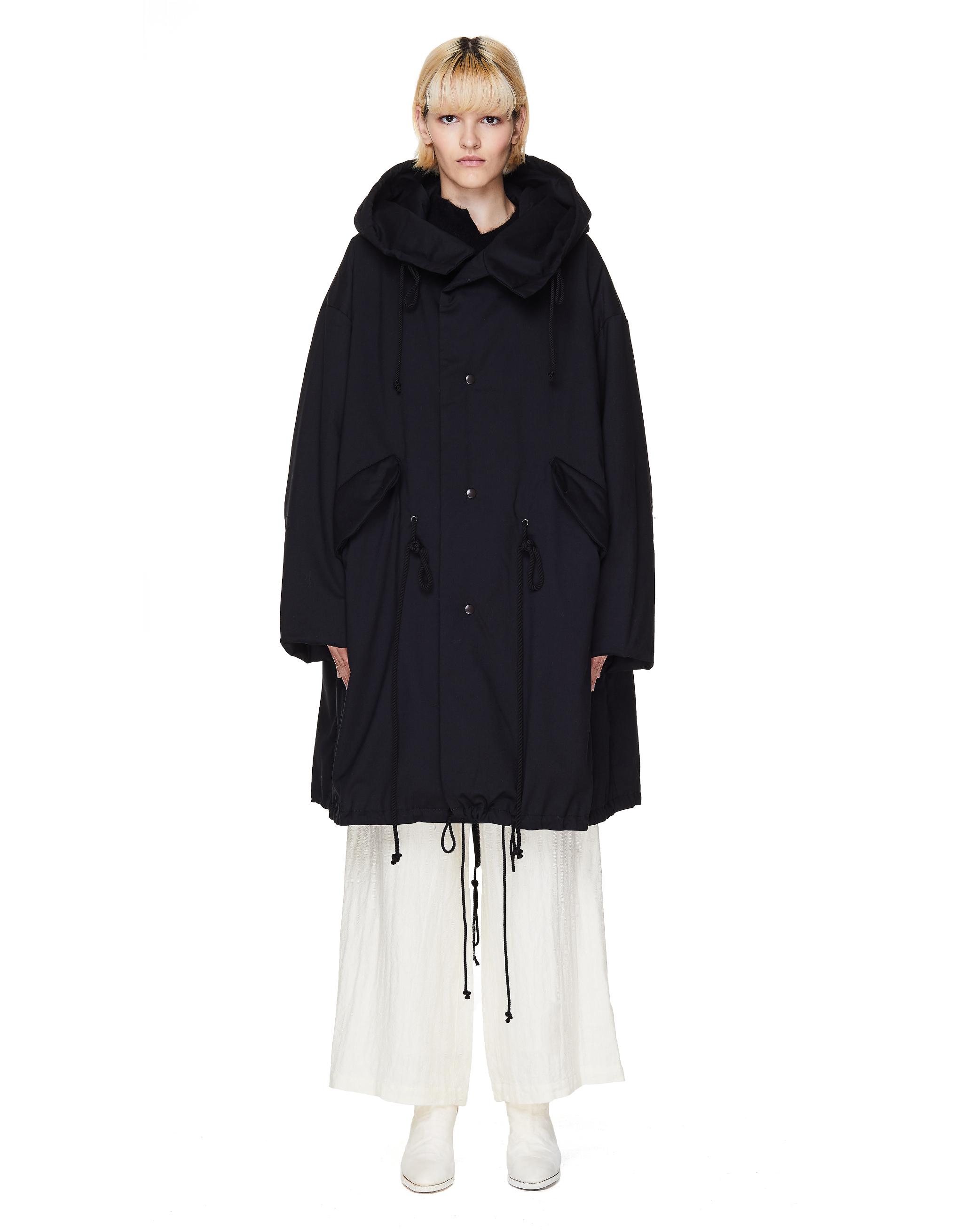 Ys Black Padded Parka Coat