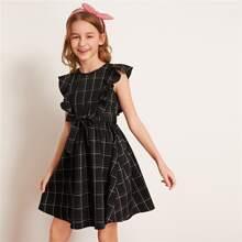 Girls Ruffle Armhole Belted Plaid Dress