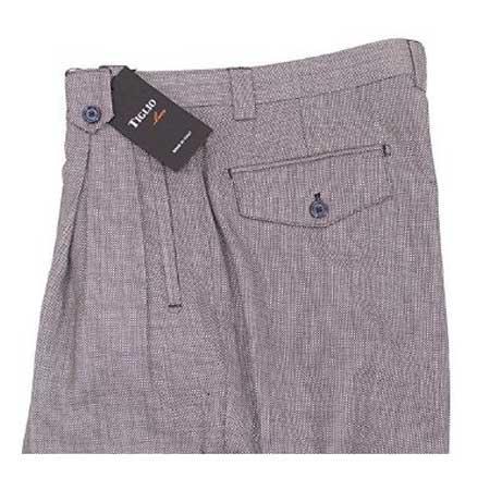 Mens Birdseye Grey Wide Leg Pure Wool Dress Pants