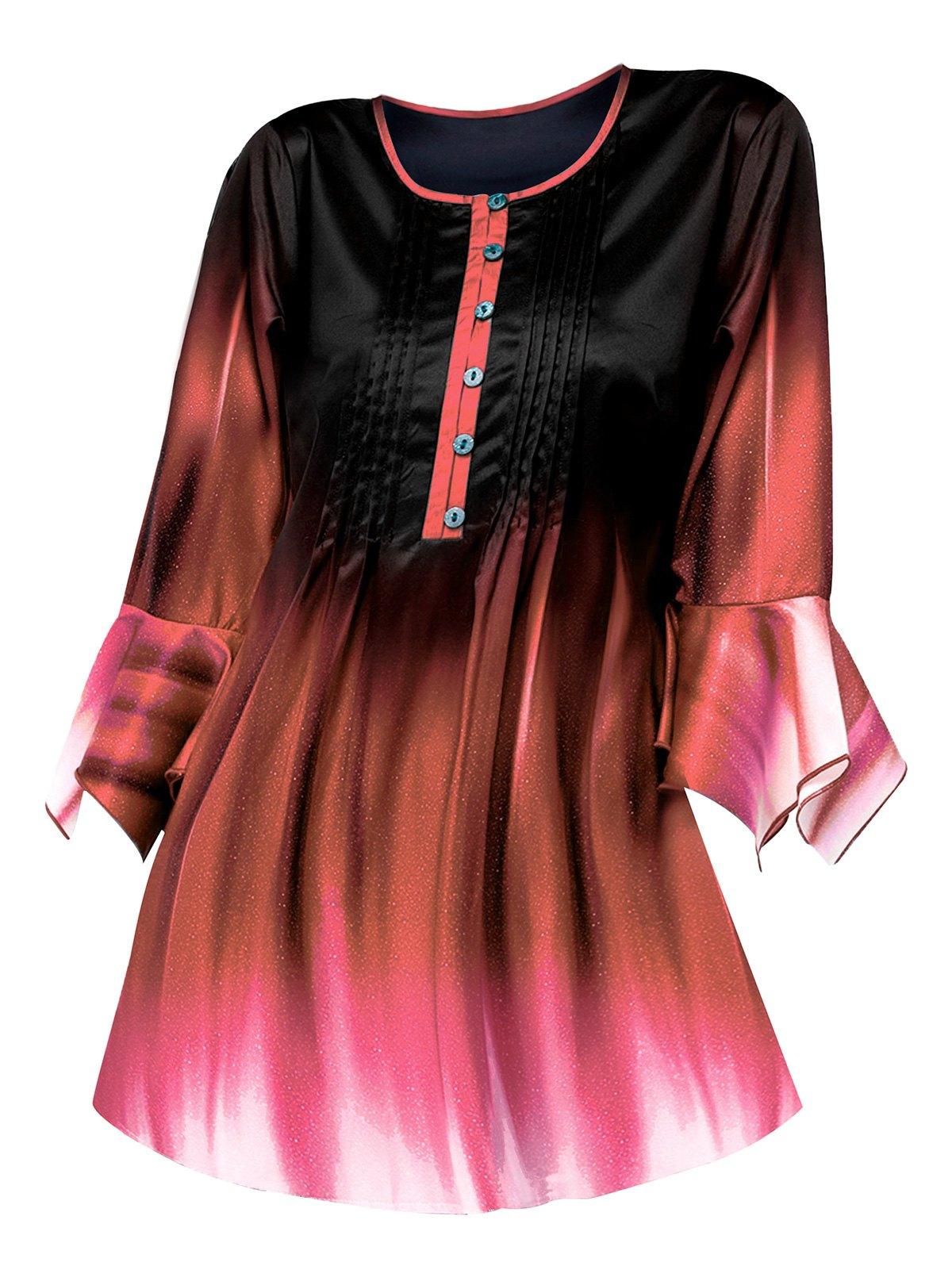 Mock Button Pintuck Dip Dye Bell Sleeve T Shirt