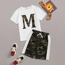 Boys Letter Graphic Top & Colorblock Camo Shorts Set