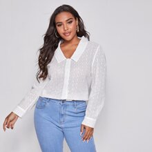 Plus Button Front Puff Sleeve Schiffy Blouse