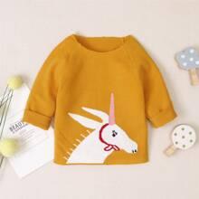 Toddler Girls Unicorn Pattern Raglan Sleeve Sweater