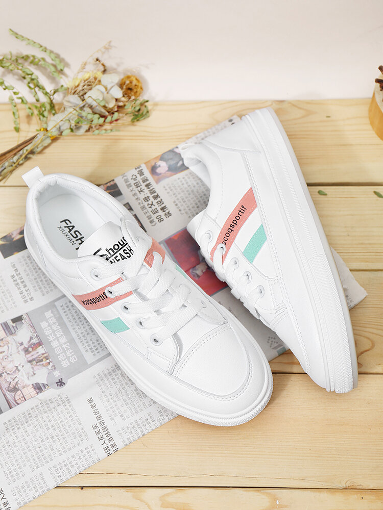 Women's Soft Breathable School Natural Classic Athletic White Leather Casual Shoes