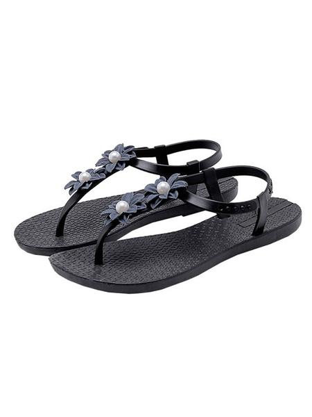 Milanoo Women\s Sandals Flat Sandals Flowers Beach Round Toe Deep Blue Sandals