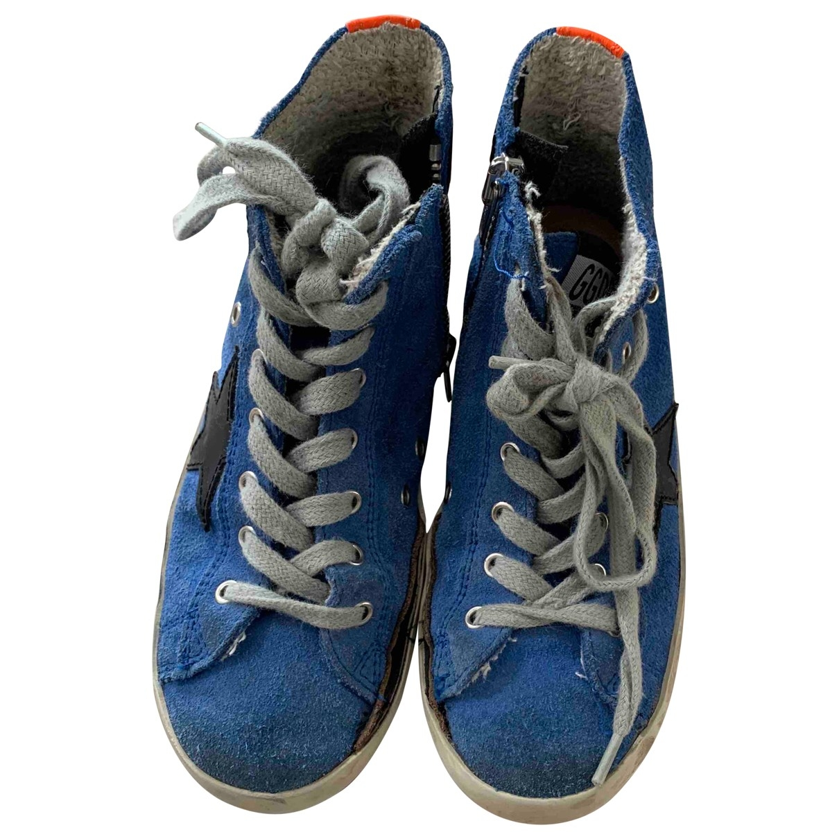 Golden Goose - Baskets Francy pour enfant en suede - bleu