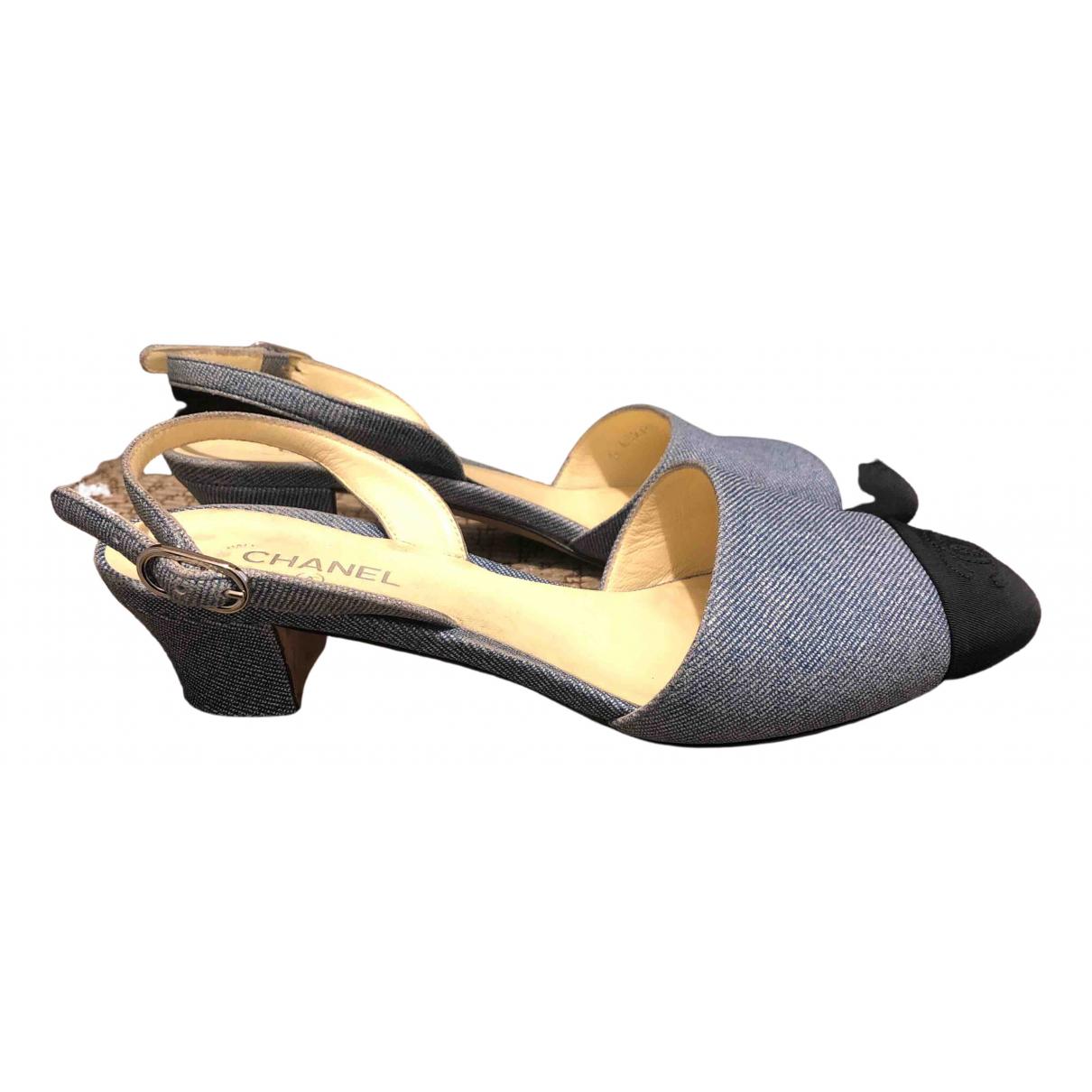 Chanel Slingback Blue Leather Heels for Women 37 EU