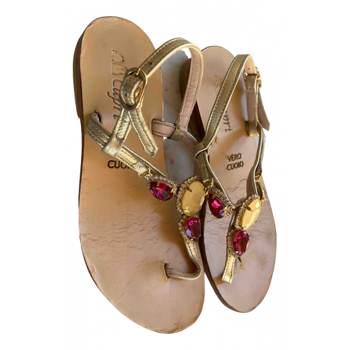 Non Signé / Unsigned \N Metallic Leather Sandals for Kids 32 FR