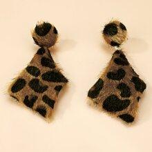 Leopard Irregular Geo Earrings