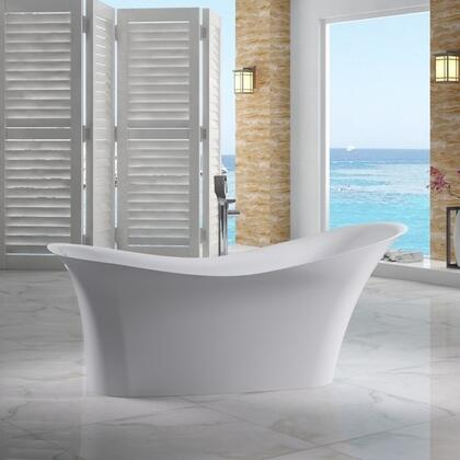 AB9915 74 Soaking Slipper Bathtub with Resin  Built In Overflow  Concealed Matte Matching Pop-Up Drain and  Durable Surface in Matte