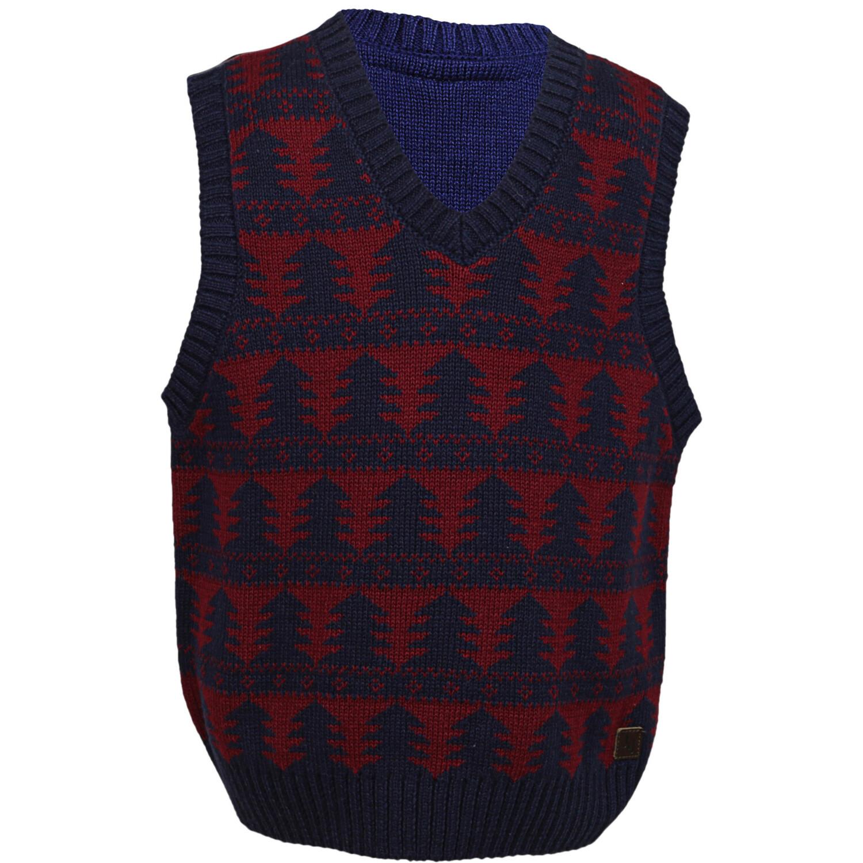 Janie And Jack Navy Tree Sweater Vest - 2T