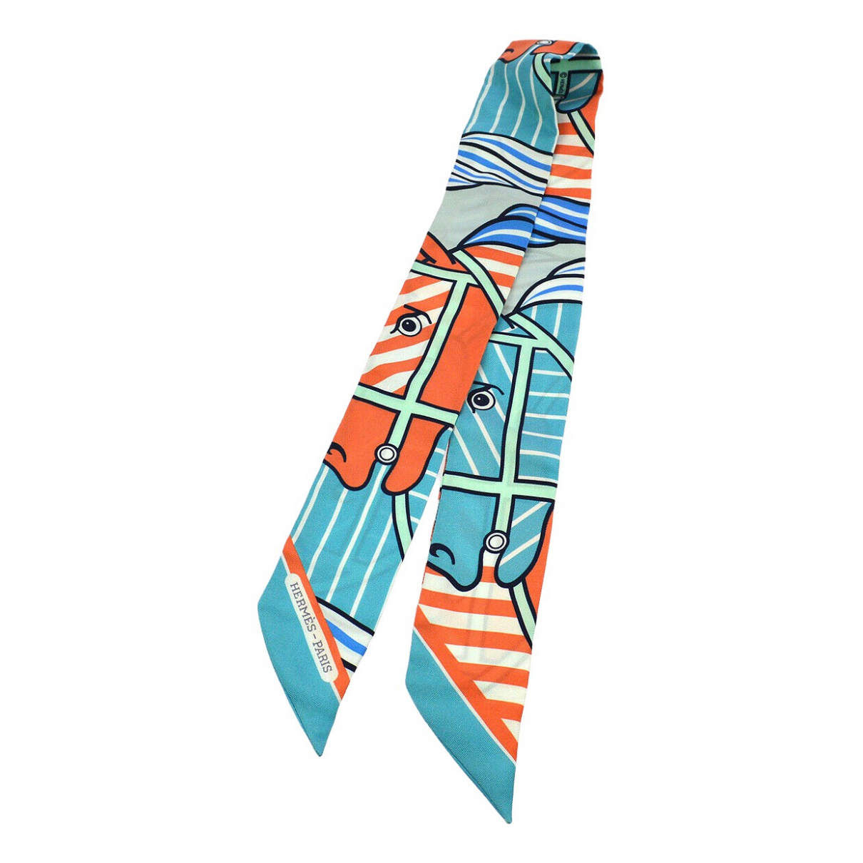 Hermes - Foulard Twilly 86 pour femme en soie - bleu
