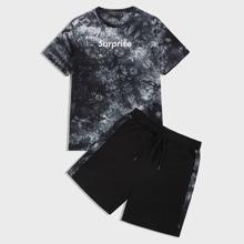 Conjunto de hombres top de tie dye con letra y dibujo con shorts deportivos
