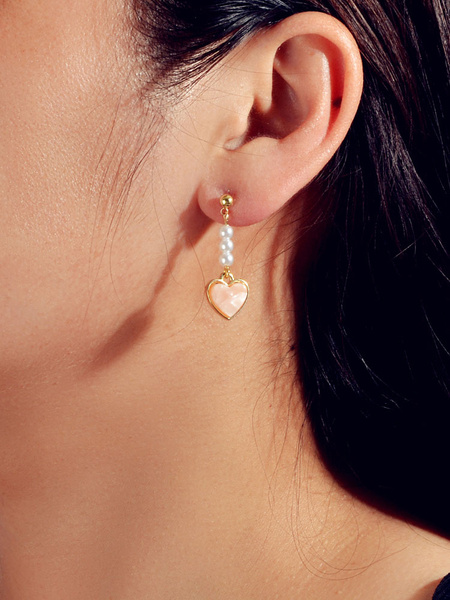 Milanoo Dangle Earrings Heart Shaped Imitation Pearl Women Jewelry