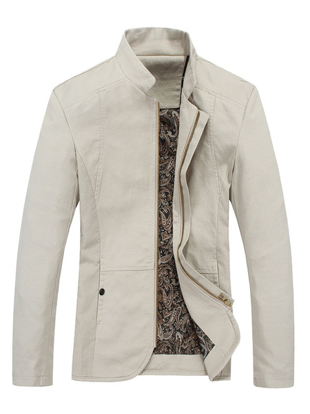 Milanoo Overcoat Navy Men Stand Collar Long Sleeve Cotton Jacket Zipper Moto Jacket