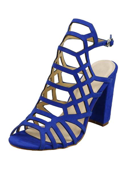 Milanoo Women Chunky Sandal Peep Toe Cut Out Nubuck High Heel Brown Gladiator Sandal