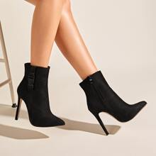 Point Toe Side Zipper Stiletto Heeled Boots