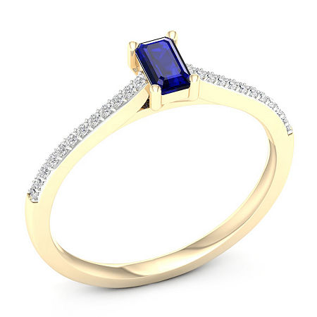 Womens Genuine Blue Sapphire 10K Gold Promise Ring, 8 1/2 , No Color Family