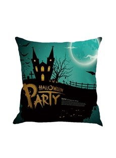 Happy Halloween 18x18in Moon and Bat Square Cotton Linen Decorative Throw Pillows