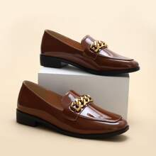 Chain Decor Patent Leather Loafers