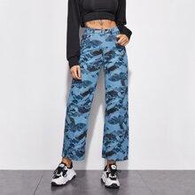 Mid Waist Allover Print Jeans