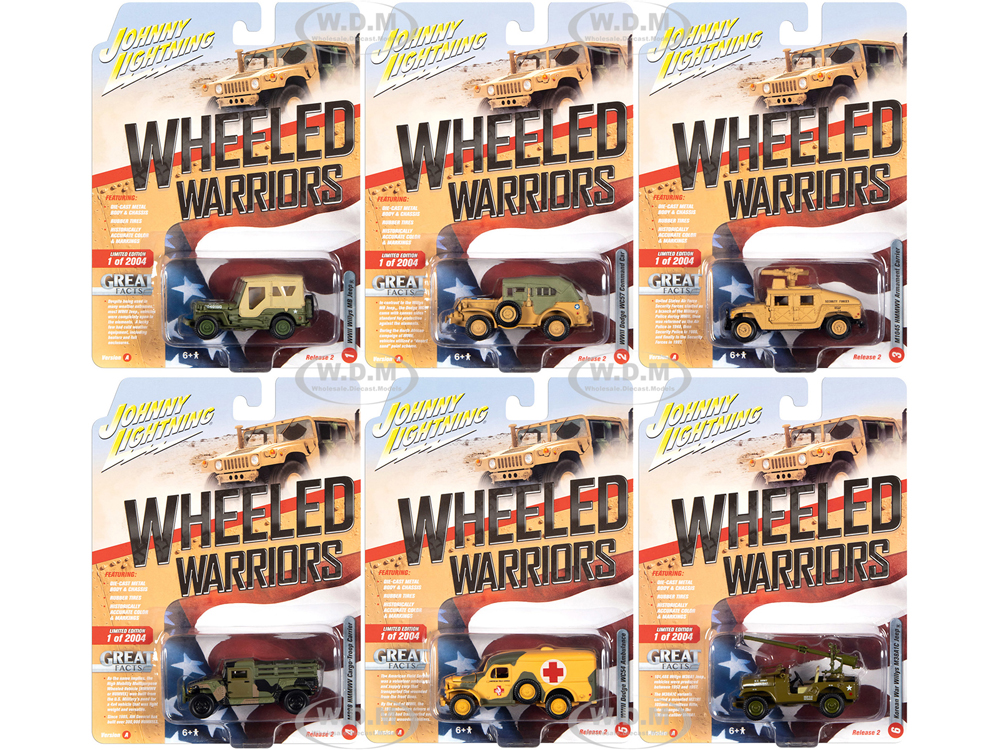 Wheeled Warriors Military Release 2 Set A of 6 pieces Limited Edition to 2004 pieces Worldwide 1/64 Diecast Model Cars by Johnny Lightning