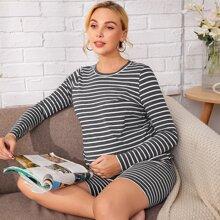 Umstandsmode Schlafanzug Set mit Streifen