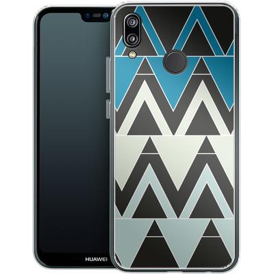 Huawei P20 Lite Silikon Handyhuelle - Blue Triangles von caseable Designs
