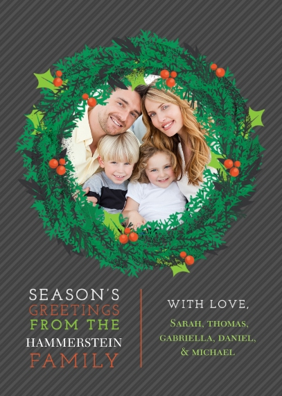 Christmas Photo Cards Flat Matte Photo Paper Cards with Envelopes, 5x7, Card & Stationery -Season's Greetings Wreath