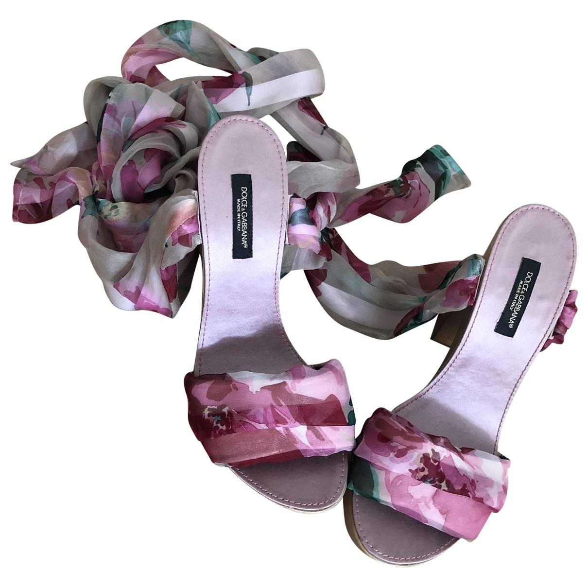 Dolce & Gabbana \N Sandalen in  Rosa Leinen
