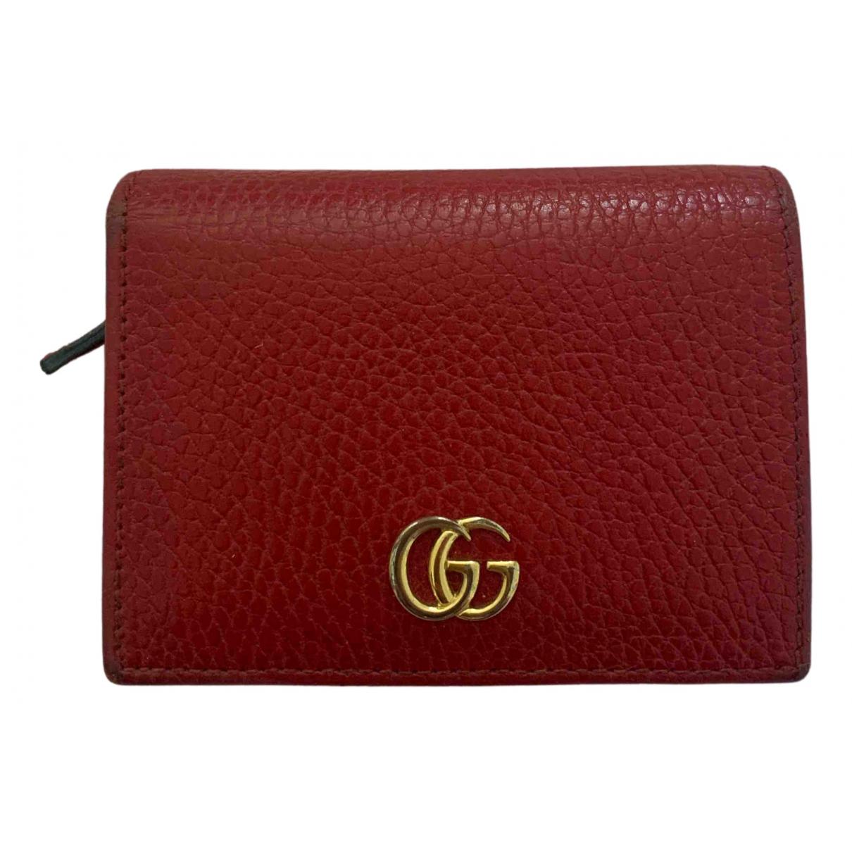 Gucci - Portefeuille Marmont pour femme en cuir - rouge