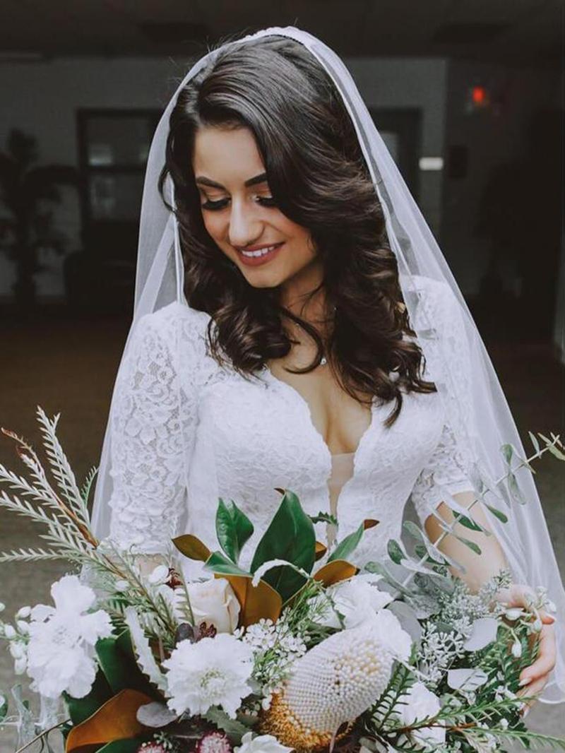 Ericdress V-Neck Lace Mermaid Half Sleeves Wedding Dress