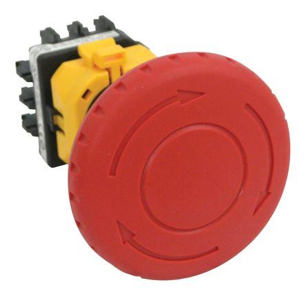 Idec Panel Mount Round Head Emergency Button - 4NC, Twist to Reset, 60mm, 22mm, Red