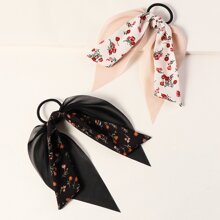 2pcs Floral Pattern Bow Decor Hair Tie