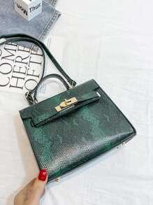 Twist Lock Snakeskin Satchel Bag