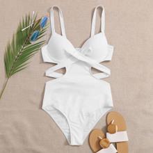 Einteiliger Badeanzug mit Ausschnitt, Twist und Buegel