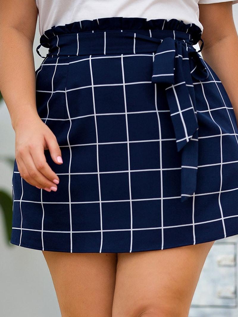Ericdress Plus Size Plaid A-Line Pocket Office Lady Skirt