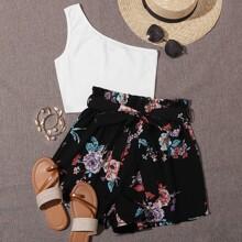 Top mit einer Schulter frei & Shorts Set mit Papiertasche Taille und Blumen Muster