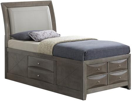 Marilla Collection G1505ITSB4 Twin Size Bed with Dovetailed Drawers  Beveled Edge  Wood Veneers and Simple Pulls in