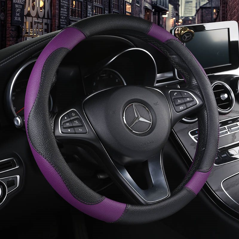 Simple Style High Quality Wear-Resistant Leather Fabric Color Matching Feel Good Don't Slip All Seasons Universal Steering Wheel Covers