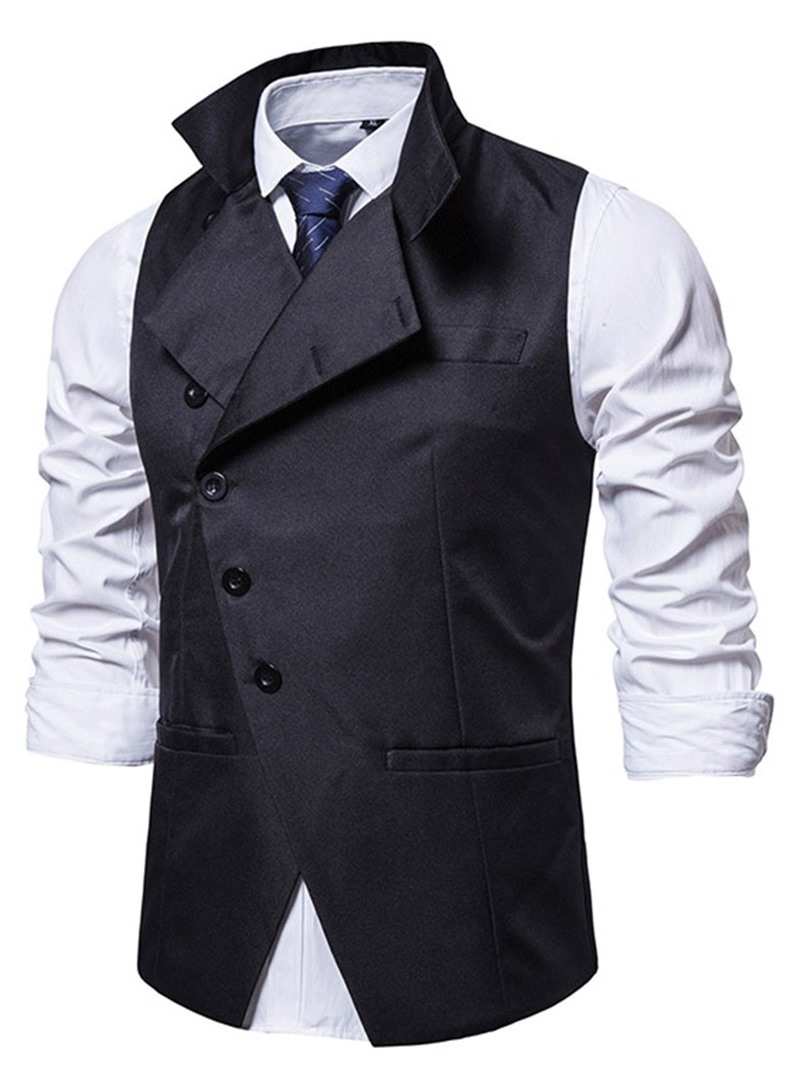 Ericdress Stand Collar Plain Fall Single-Breasted Waistcoat