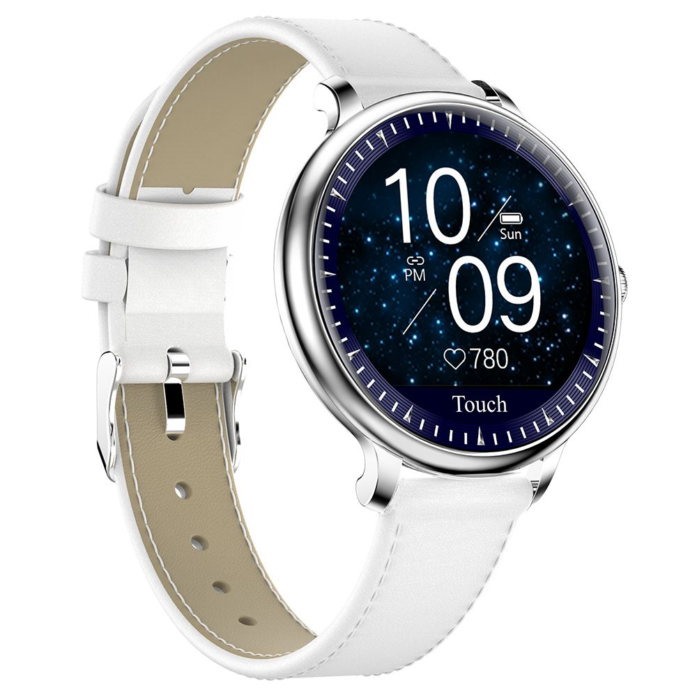 Makibes NY12 Women Smartwatch 1.08 Screen Leather Strap Silver